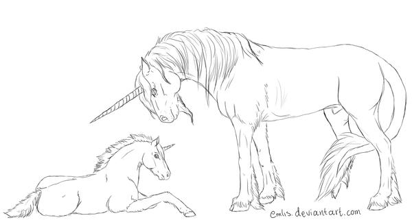 Line Art Unicorn : Unicorns line art by emlis on deviantart