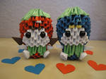 3D Origami - Strawberry Girl and Blueberry Boy by Mixowelle