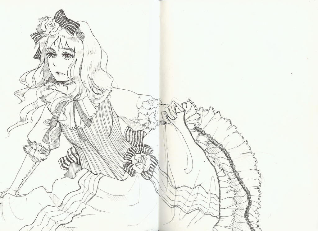 Line Drawing In Qt : Line drawing of girl in frilly dress by god damn kaibaman