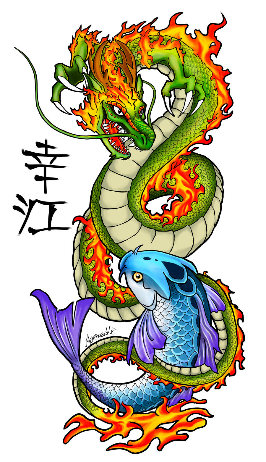 dragon and carp tattoo by marinanke on deviantart