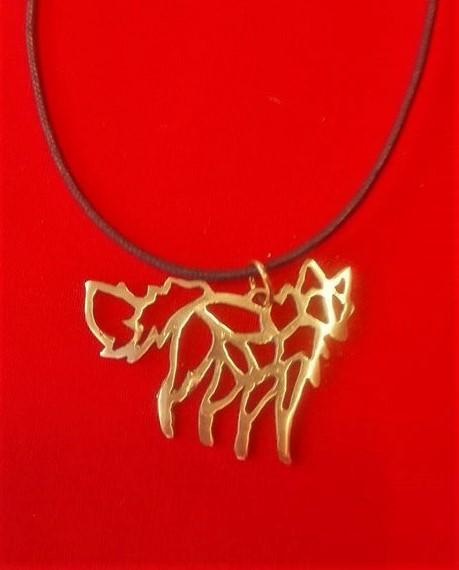Bronze fox necklace by Niittylilja