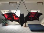Dark Violet Bat Stained Glass Suncatcher by Esperanta-Dragon