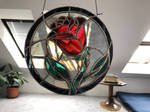 Violet stained glass rose by Esperanta-Dragon