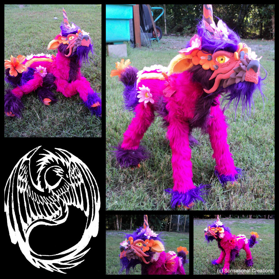 Hibiscus Unicorn Dragon - SOLD by SonsationalCreations