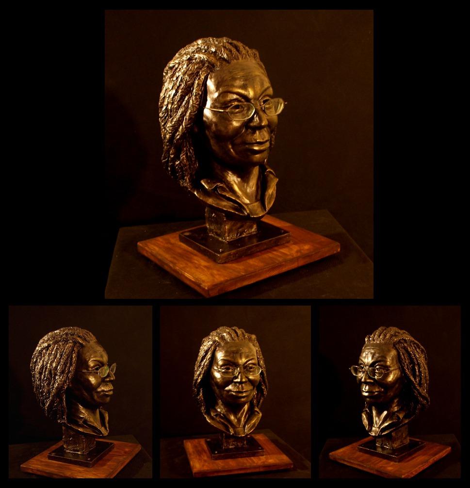 Whoopi Goldberg portrait bust by ZombieArmadillo