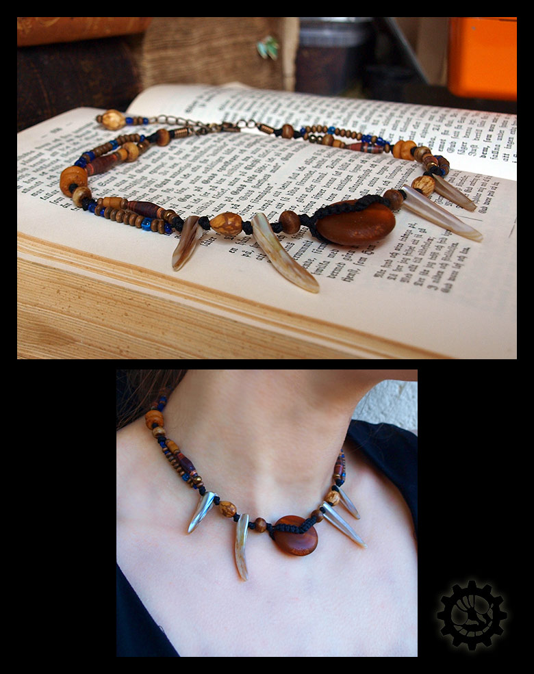 Tribalish horn-and-shell choker by ZombieArmadillo