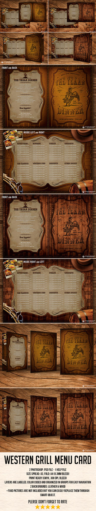 Western Grill Menu Card Template by Thats-Design