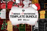 7 Xmas Menus + 7 Invitations PSD Templates Bundle by Thats-Design