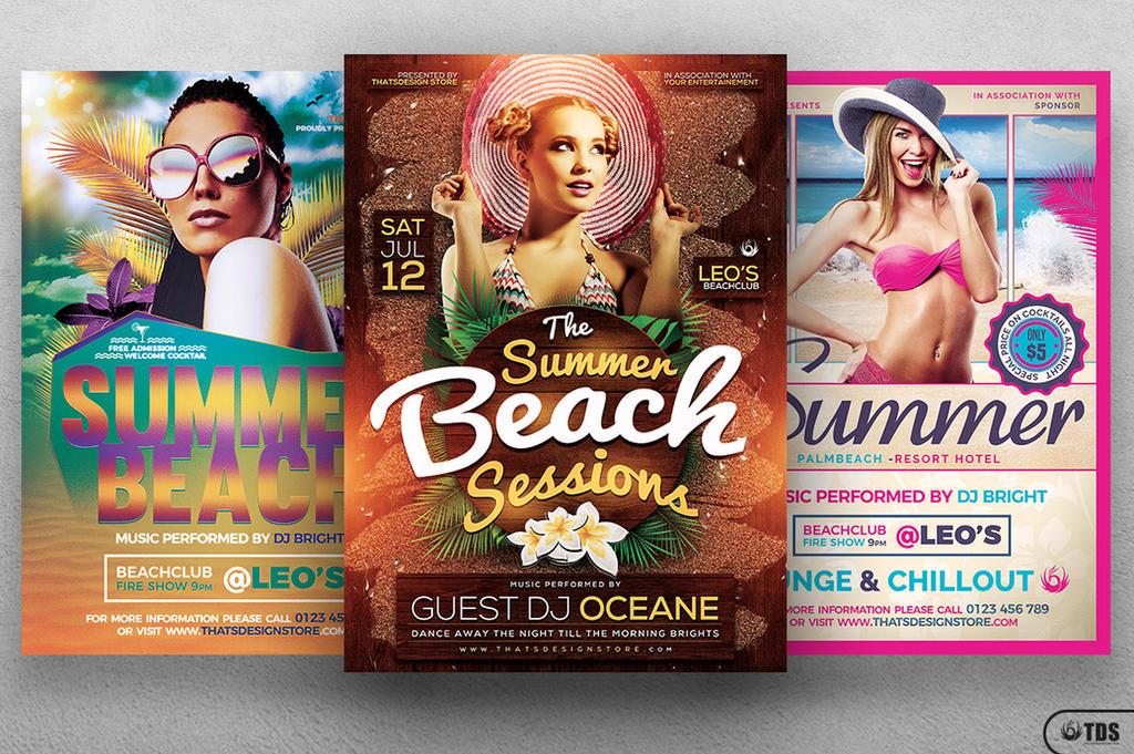 Summer Beach Flyer Bundle by Thats-Design
