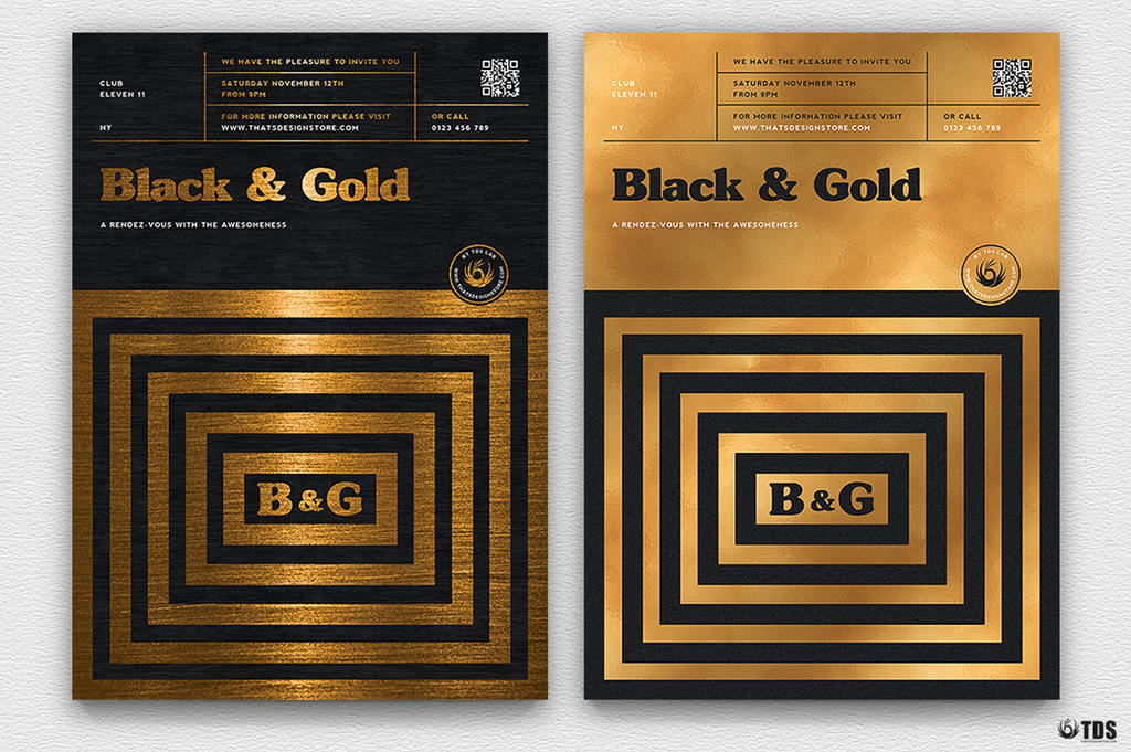 minimal black and gold flyer template v9 by thats design on deviantart