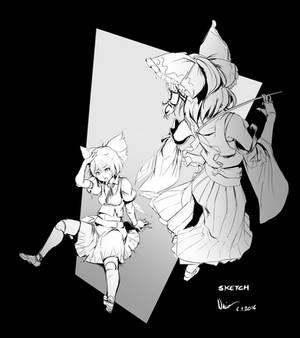 Touhou: Don't mess with Reimu - Sketch WIP