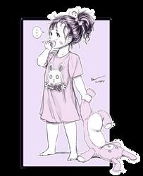 Nsio Inks: Baby Sayuri with a Bunny Plushie