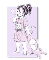 Nsio Inks: Baby Sayuri with a Bunny Plushie by Nsio