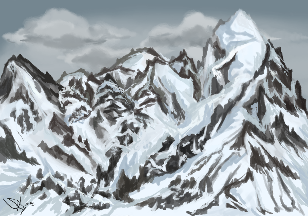 Sunrise on snowy mountains by Sky-of-ragnarok