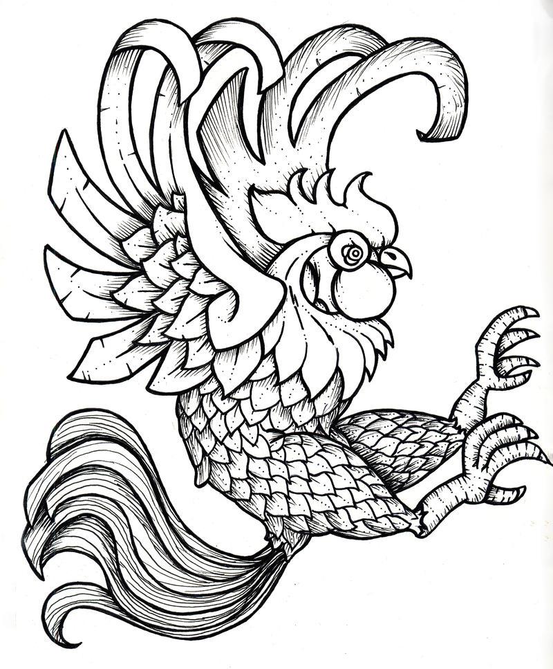 Fighting Chicken Drawing