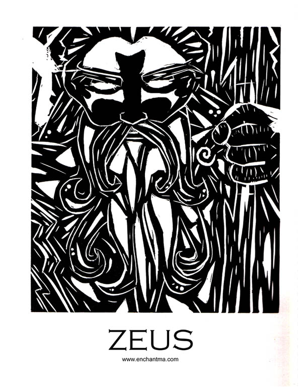 Zeus-Linoleum Print by enchantma