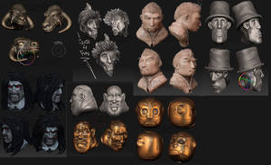 1 hour zbrush heads by pixelchaot