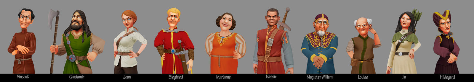 Catan Charakter-lineup by pixelchaot