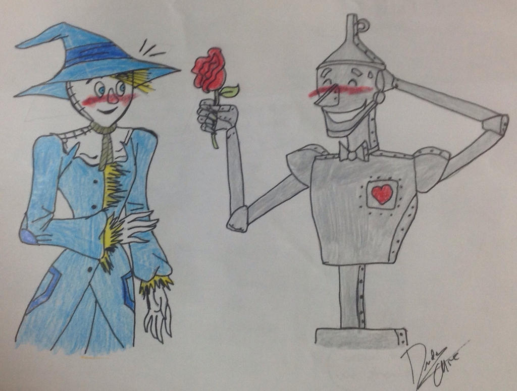 tin man x scarecrow drawing by dudamietlicki