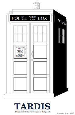 Tardis outline or Coloring Page Shaded Ver.