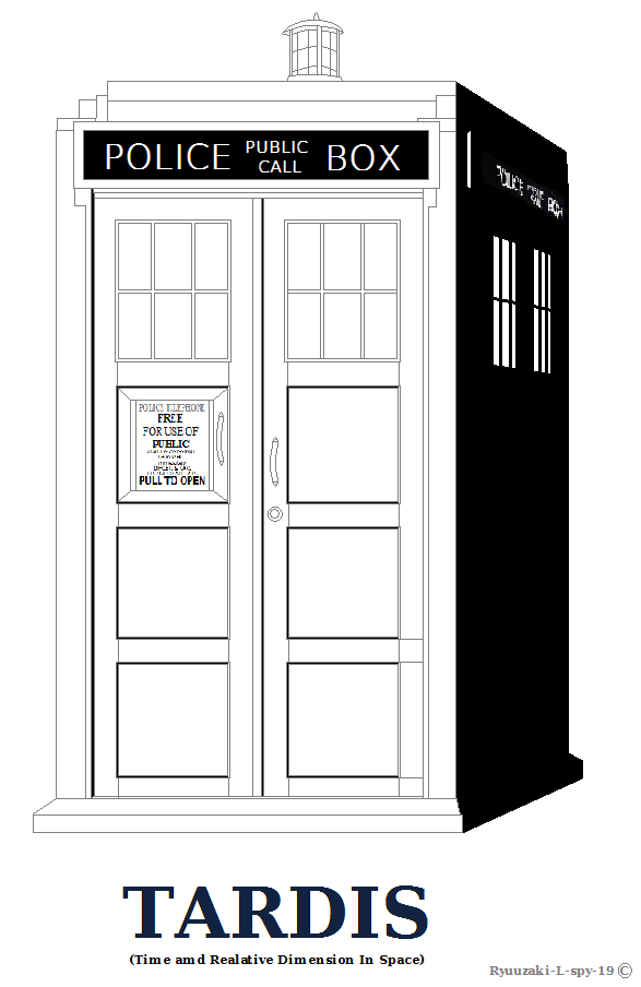 Tardis outline or coloring page shaded ver by ryuuzaki l for Tardis coloring pages