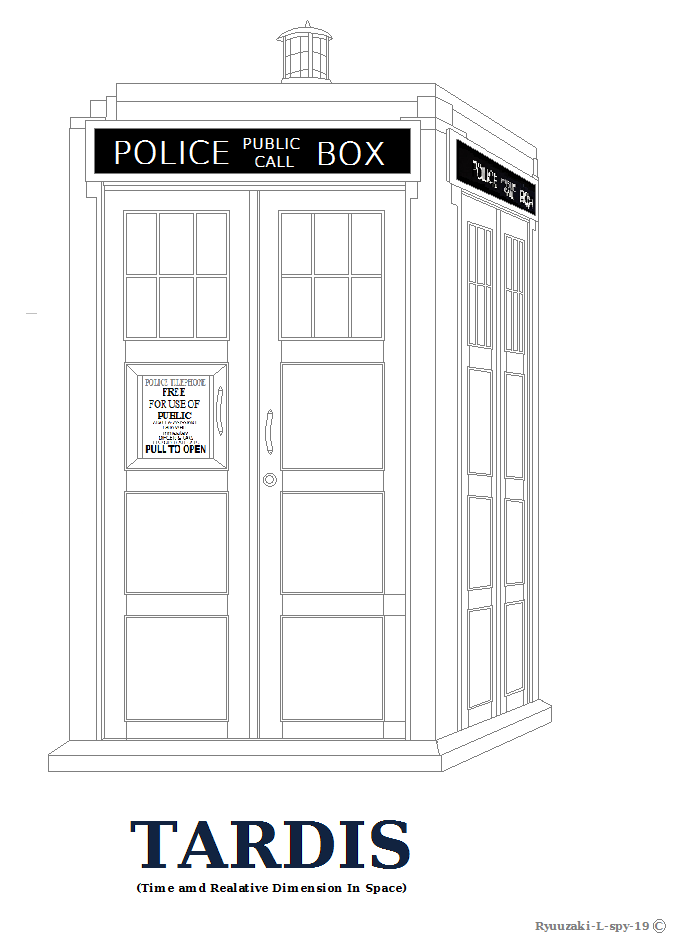 Tardis Outline Or Coloring Page By Ryuuzaki L Spy 19 On Tardis Coloring Page