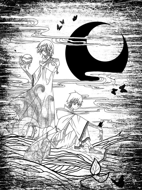 .:lineart:. Moriko and Michi by sunmi-e