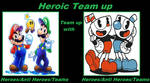Mario bros team up with Cuphead and Mugman by meikotheshinyturtwig