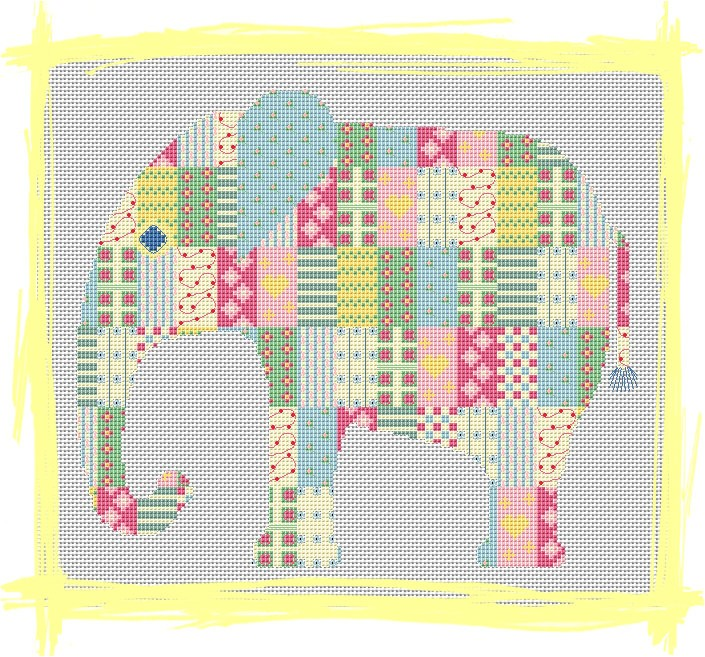 Cross stitch elephant by Stickvorlage