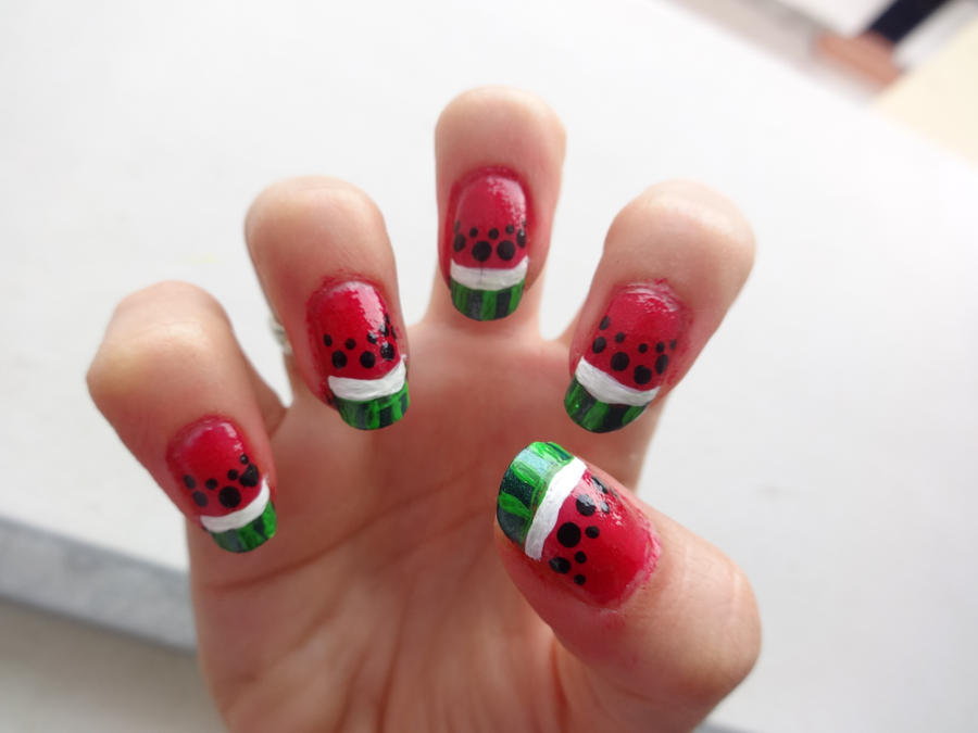 Watermelon nail art by kira86 on deviantART