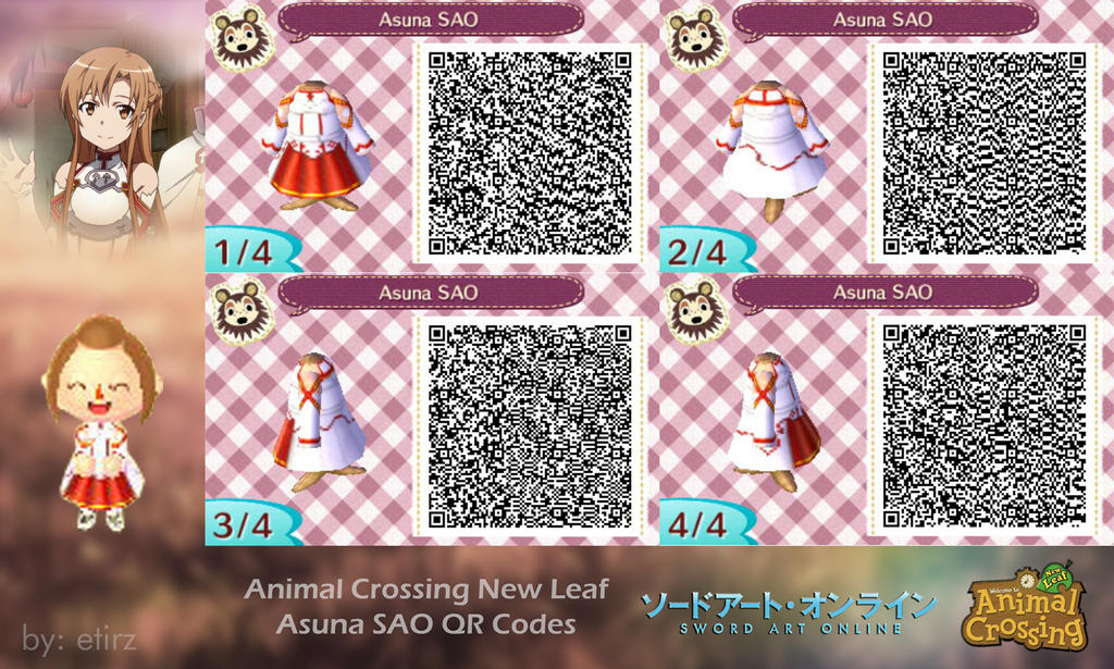 Animal crossing nl asuna sao qr codes by etirz on for Animal crossing mural