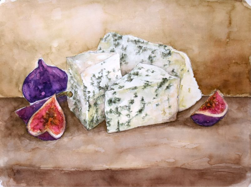 figs and cheese watercolor painting by Sekemolados