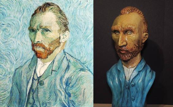 Vincent Van Gogh self portrait and statue