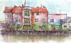 Houses on water, Norway - Watercolor sketch
