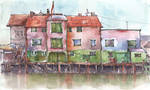 Houses on water, Norway - Watercolor sketch by Sekemolados