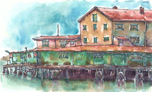 Buildings on water, gouache and pen