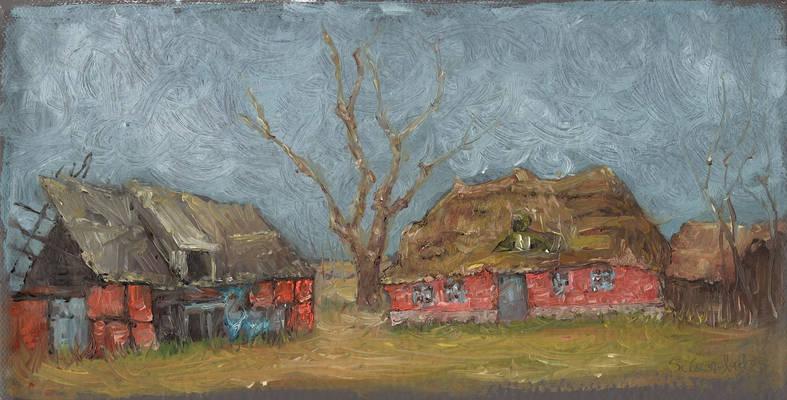 Old Farm Yard, oil painting