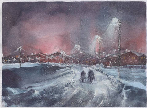 North scape, watercolor painting