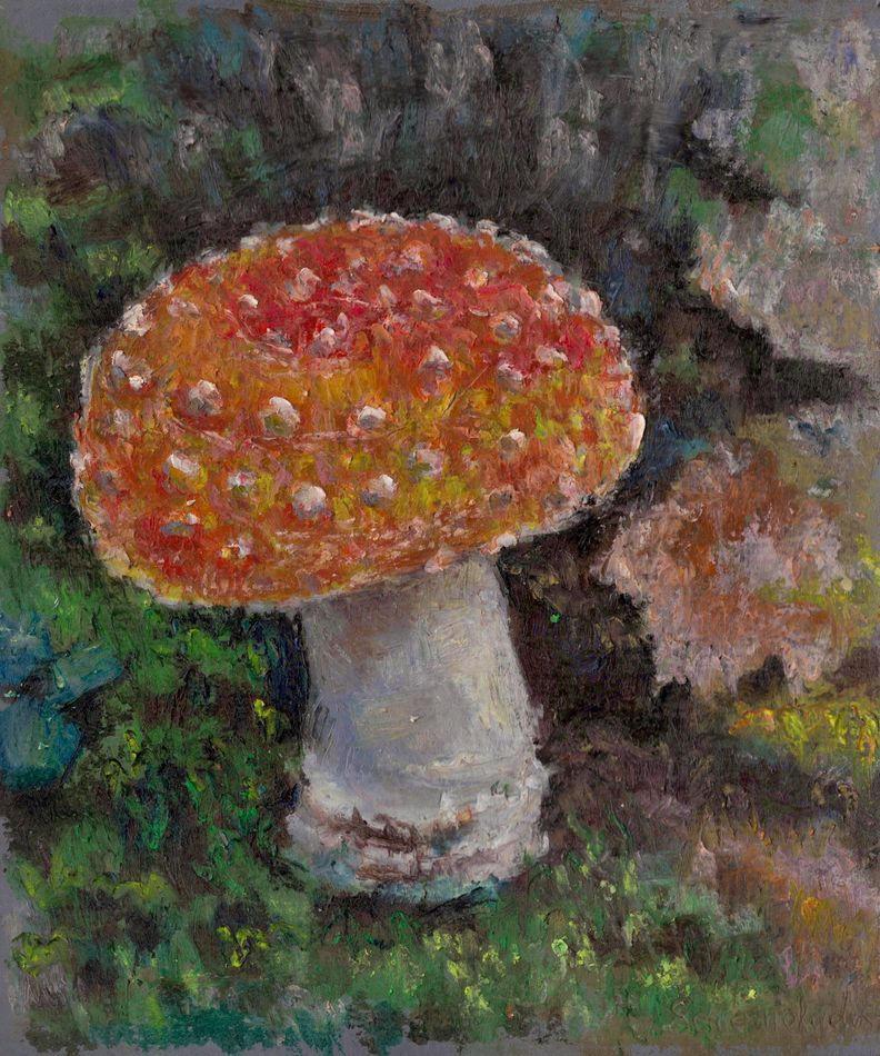 Mushroom, oil pastel painting