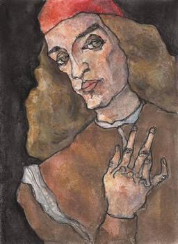 Botticelli As Schiele 02, pastel painting