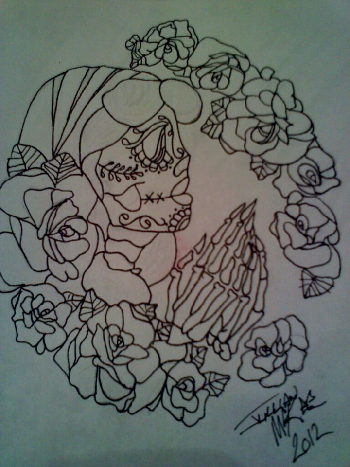 Traditional skull tattoo design sugar skull tattoo design