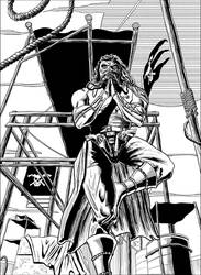 Immortan Joe, on a pirate ship, doing yoga by ElieBongrand