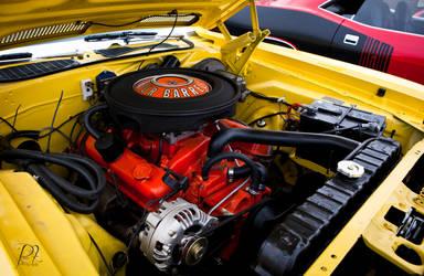 yellow Cuda motor by hxcitdiestoday