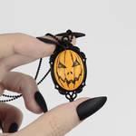 Jacko Cameo Necklace in Orange by TrueCrimeberry