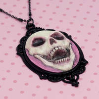 Skull Cameo Necklace in Pink