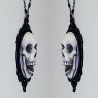 Skull Cameo Necklace in Purple