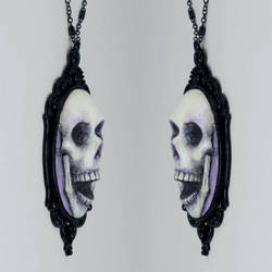 Skull Cameo Necklace in Purple