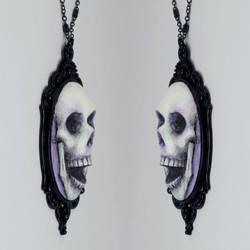 Skull Cameo Necklace in Purple by TrueCrimeberry