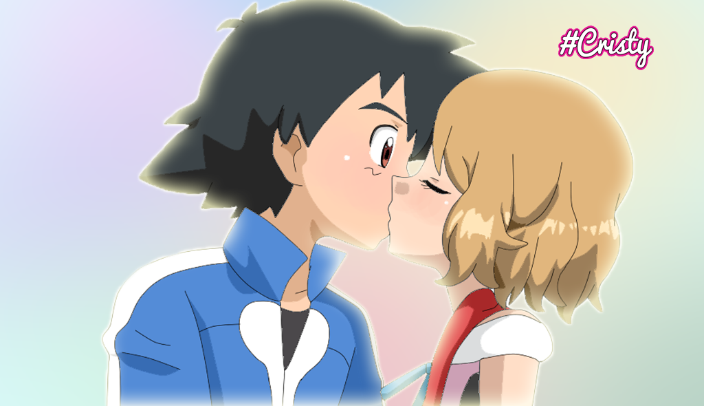 Satoshi / Ash and Serena Kiss