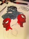 Hulk and Spider-Man marker practice